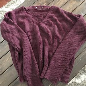 Maroon slit detail sweater